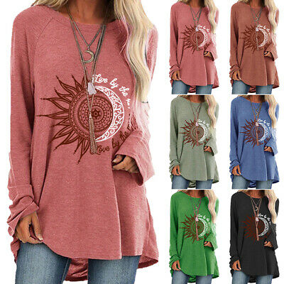 Womens Boho Hippie Loose Tunic Tops Ladies Long Sleeve Blouse T-Shirt Plus Size • 14.39£