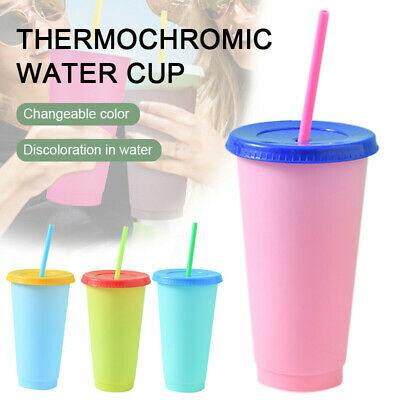 Reusable Plastic Temperature Color Changing Cold Cup Sports Drinking Water Mug • 6.59£