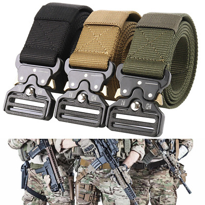 Heavy Duty Men Military Belt Tactical Army Hunting Outdoor Utility Waistband UK • 6.59£