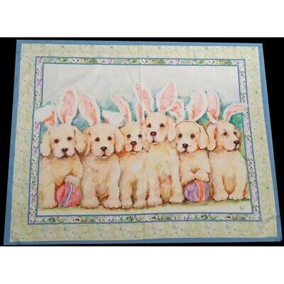 100% Cotton Fabric Springs Creative Labrador In Easter Bunny Ears Dogs Panel • 14.10£