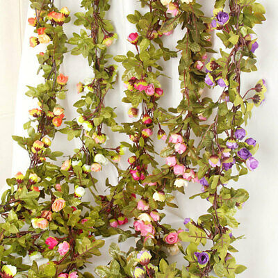 42 Flowers 7Ft Artificial Fake Silk Rose Flower Hanging Garland Garden Wedding • 2.98£