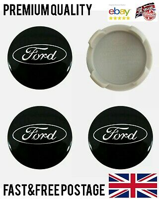 SET Of 4  BLACK 54mm Alloy Wheel Centre Caps Badges For FORD Focus Mondeo Fiesta • 7.99£
