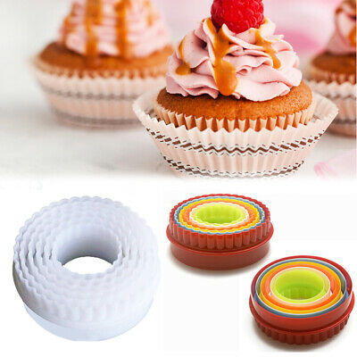 6 Pack Cookie Mould Round Cake Pastry Twin Edge Cutters Crinkle Bakeools Tools • 3.69£