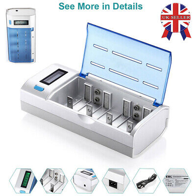 UK LCD Intelligent Battery Charger For AA AAA C D 9V Rechargeable Batteries SALE • 15.06£