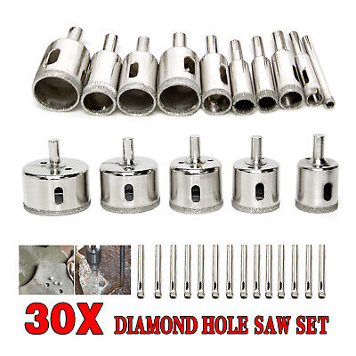 30pcs Diamond Cutter Coated Core Hole Saw Set Holes Saw Drill Bit Tile FOR Glass • 11.99£
