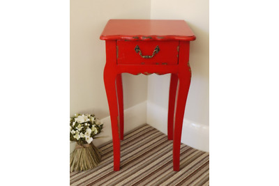 Red Shabby Chic Bedside Table Cabinet Antique Distressed Vintage Look • 39.99£