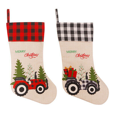 AU12.08 • Buy Christmas Linen Sock Gift Candy Bag Cartoon Tractor Print Hanging Stockings #JT1