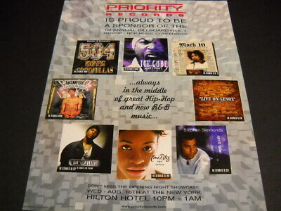 $9.95 • Buy PRIORITY Records 2000 PROMO POSTER AD Ice Cube MACK 10 C-Murder 504 BOYZ Others