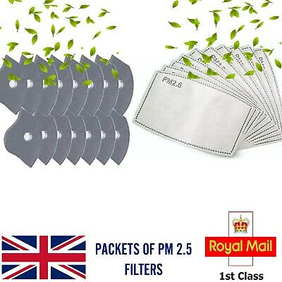 PM 2.5 Activated Carbon Cotton Face Mask Filter Paper Replacement UK Stock • 6.99£