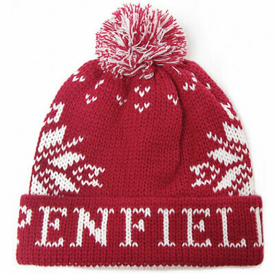 Penfield Dumont Bobble Hat - Red Fairisle Jacquard Beanie • 19.99£
