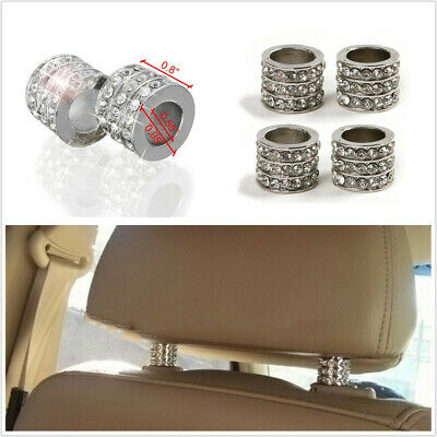 $14.62 • Buy 4Pcs Silver Rhinestone Style Collar Ring Universal Fit For Car Headrest Decor