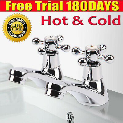 Traditional 2Taps Twin Hot Cold Mixer Tap Bath Bathroom Basin Sink Chrome Luxury • 14.80£