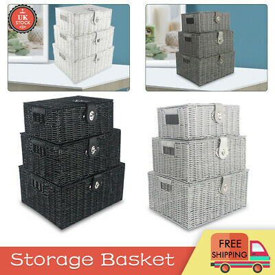 Set Of 3 Wicker Storage Baskets With Lid Lock Resin Woven Basket Gift Hamper Box • 15.99£