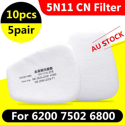 AU22.99 • Buy 10PCS 5N11 Cotton Filter Replacement Filter For 6200 6800 7502 Respirator