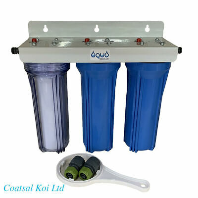 10  Water Filter Purifier 3 Stage Dechlorinator Koi Pond Inc Fittings  • 42.95£
