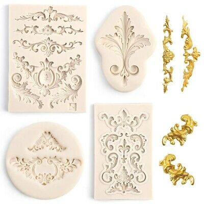 4/1Pc Silicone Fondant Moulds Relief Baroque Cake Lace Flower Border Sugar Molds • 3.79£
