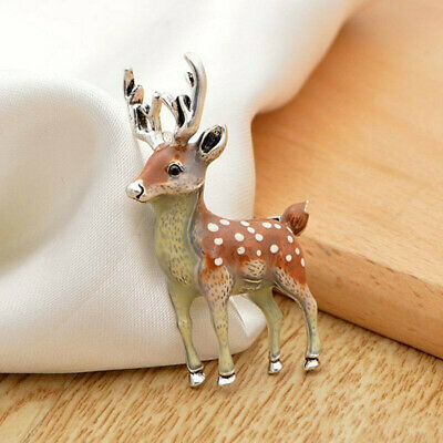 Cute Wedding Party Enamel Badges Animal Brooch Sika Deer Pin Christmas Jewelry • 3.69£