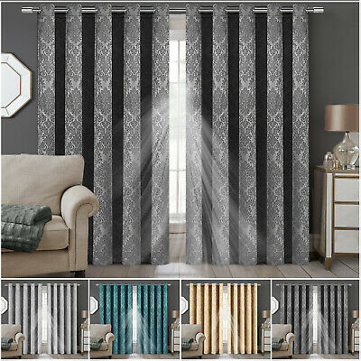 £33.99 • Buy Ready Made Thermal Blackout Curtain Eyelet Ring Top Pair Curtains With Tie Backs
