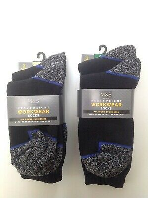 M&S MARKS AND SPENCER Men's WORK BOOT HEAVY DUTY SOCKS 2 Pairs • 8£