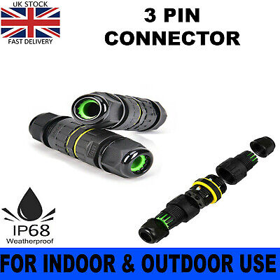 £3.40 • Buy Ip68 3pin Waterproof Junction Box Connector Electric Cable Slim Plug Inline Wire
