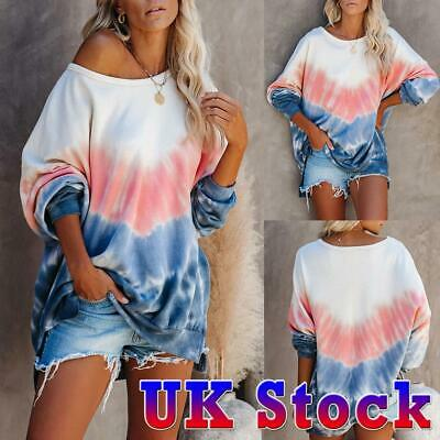 Women's Off The Shoulder Tie Dye Sweater Loose Long Sleeve Jumper Pullover Tops • 10.59£