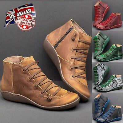 Women ARCH SUPPORT Suede Winter Ankle Boots Stitch Shoes Flat Heels Loafers NEW • 6.59£