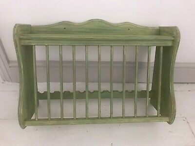 Vintage Old Pine Wooden Plate Rack Display Shelf~ Shabby Chic • 30£