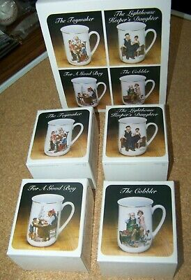 $ CDN59.45 • Buy Norman Rockwell Museum 4 Pc Collector Mug Set Porcelain Cup In Boxes And Sleeve
