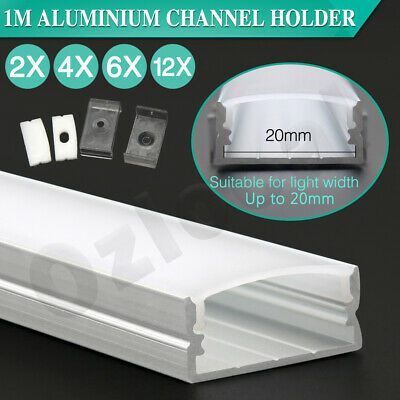AU13.49 • Buy 20mm 1m Aluminium Light Channel Frosted Cover Profile Bar Led Strip Lights