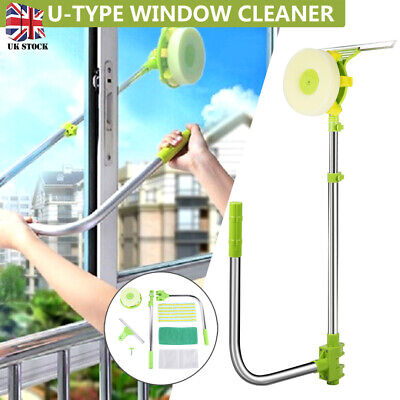 U Type Window Cleaner Telescopic Glass Cleaning Kit Squeegee Dust Clean Brush • 10.99£