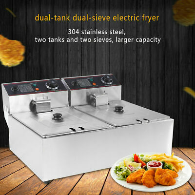 £140.35 • Buy Commercial Fryer Electric Twin Basket 12L 5000W Double Tank Fish Chips