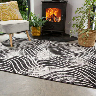 Contemporary Black Rug Small Large Rugs For Living Room Soft Wave Hall Runners • 24.95£