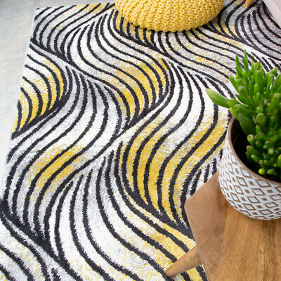 Contemporary Yellow Rug Small Large Rugs For Living Room Soft Wave Hall Runners • 15.95£