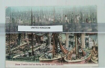 £13 • Buy GRIMSBY Steam Trawlers Laid Up In Dock During Strikes Of 1901, Postcard 629ad