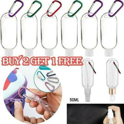 Empty Plastic Bottle With Key Ring Hook Refillable Travel Sanitizer Bottle UK • 7.99£