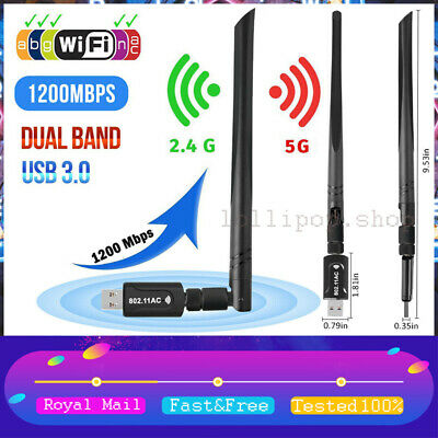 USB WiFi Dongle Adapter 1200Mbps Wireless Network For Laptop Desktop PC Antenna • 8.99£
