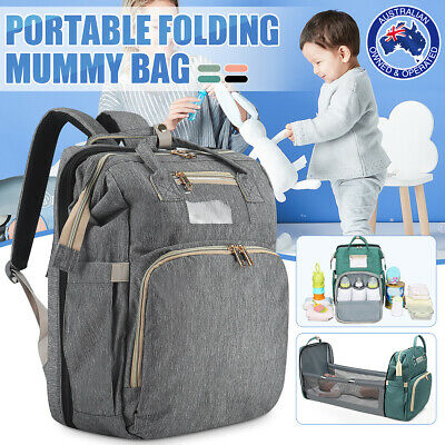 AU58.99 • Buy Large Changing Mummy Bag Maternity Nappy Diaper Crib Folding Baby Bed Backpack