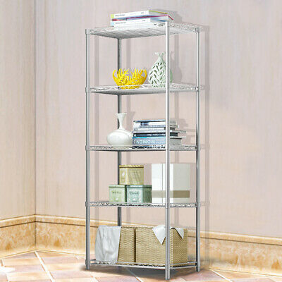Silver Metal 5 Tier Shelving Storage Kitchen Office Shed Shelf Corner Organiser • 36.95£