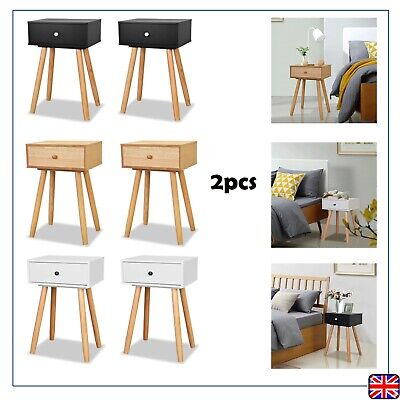 Pair Of Nightstand Bedside Table Cabinet Storage 1 Drawer  Side/End Table Stand • 55.09£