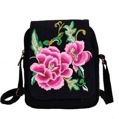 Boho Floral Embroidery Canvas Mobile Phone Small Coins Purse Women Messenger Bag • 18.84£