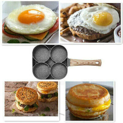 4 Hole Fried Egg Burger Pan Non-stick Ham Pancake Maker Wooden Handle Omelets UK • 14.99£