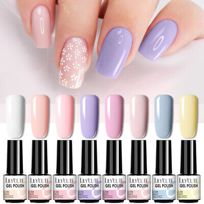 8Pcs/Set LILYCUTE 7ML UV Nail Gel Polish Lasting Glitter Soak Off Gel Varnish • 11.99£