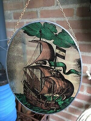 Vintage Leaded Window Stained Glass Ship • 65£