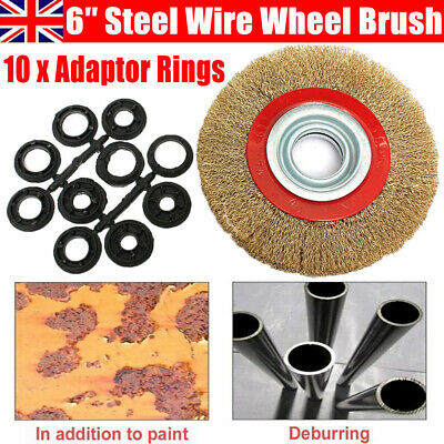 6″ Inch 150mm Rotary Steel Wire Brush Wheel With 10pcs Reducers Adaptor Rings UK • 4.79£
