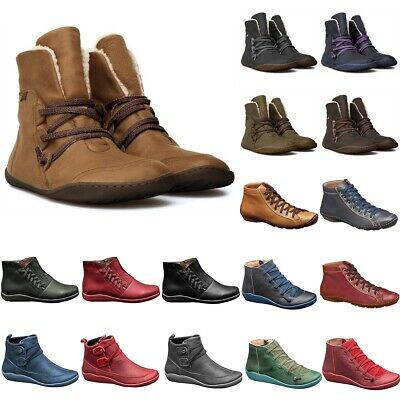 Women Ankle Boots Arch Support Comfy Snow Booties Lace Up Flat Shoes Size Winter • 16.90£