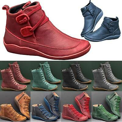 Ladies Arch Support Ankle Boots Casual Lace Up Leather Flat Booties Shoes Size • 13.67£