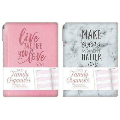 A6 2021 Family Organiser Diary With Pen Week View Desk Typography Planner 2090 • 3.65£