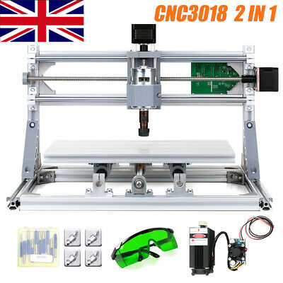 CNC3018 DIY CNC Router Kit 2IN1 Laser Engraving Machine GRBL Control 3Axis +ER11 • 129.89£