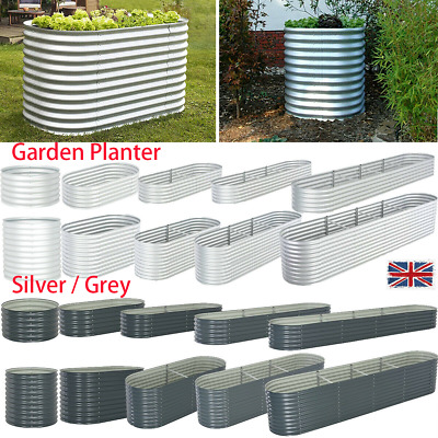Garden Planter Galvanised Steel Raised Bed Flower Veg Pot Box Container Patio • 54.09£