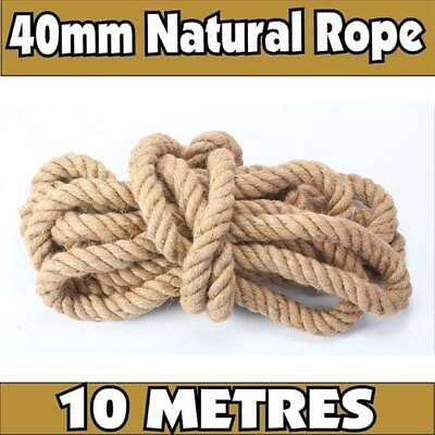 40mm 100% Natural Jute Rope Braided Twisted Decking Cord Garden Boating 10metres • 26.79£